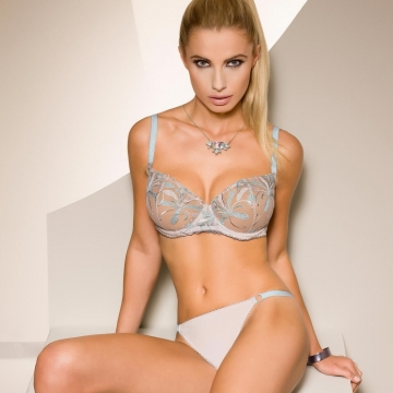 Satin Sky - Light Beige Sheer Balconette Bra