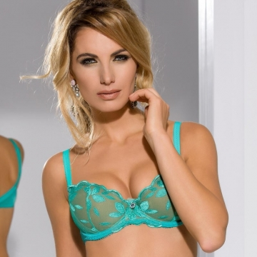 Unlined Bras Jelly Beans - Green Sheer Balconette Bra