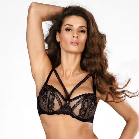 Black Diamond - Sheer Lace Balconette Bra