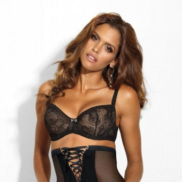 Unlined Bras Cat Eye - Black Sheer Balconette Bra
