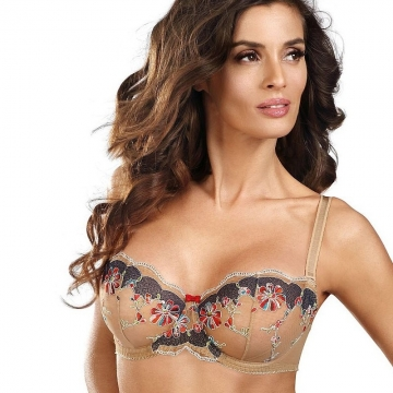 Bras  Nuts & Caramel - Light Beige Sheer Balconette Bra