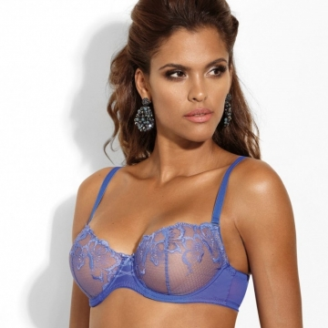 Bras  So Special - Blue Sheer Balconette Bra