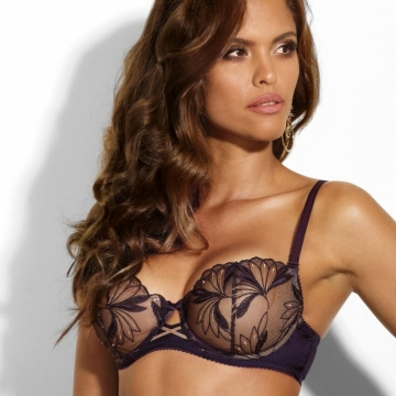 Bras  Good Girl - Deep Purple Sheer Balconette Bra