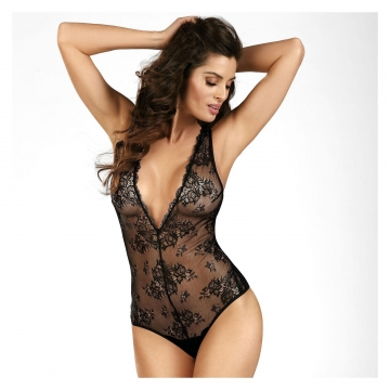 Black Diamond - Black Sheer Lace Bodysuit