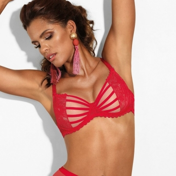 Bras  Si - Red Strappy Lace Balconette Bra
