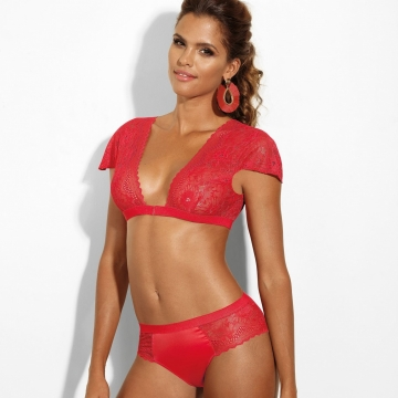 Si - Red Bolero Lace Unlined Bralette