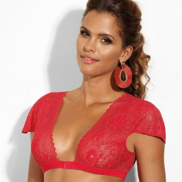 Unlined Bras Si - Red Bolero Lace Unlined Bralette