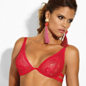 Unlined Bras Si - Red Deep Plunge Unlined Lace Bra