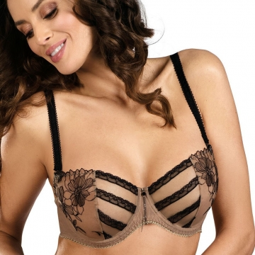 Unlined Bras Cinnamon Coffee - Sheer Lace Balconette Bra