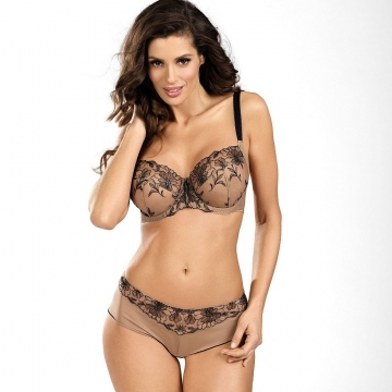 Cinnamon Coffee - Beige  Sheer Bra Plus Sizes