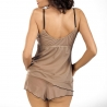 Cinnamon Coffee - Beige Mesh Pajama Set