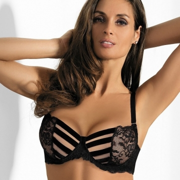 Bras  Starlight Night - Strappy Black Lace Bra Balconette