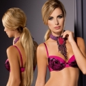 Flair - Pink Black Lace Push up Bra