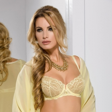 Bras  Honey - Yellow Lace Sheer Bra Balconette
