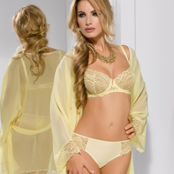Honey - Yellow Lace Sheer Bra Balconette