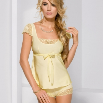 Sexy Lingerie Honey - Yellow Lace Pajama Set