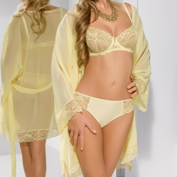 Sexy Lingerie Honey - Yellow Lace Ultra Sheer Mesh Robe
