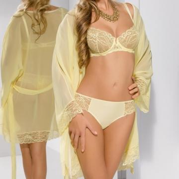 Honey - Yellow Lace Ultra Sheer Mesh Robe