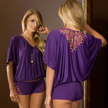Sexy Lingerie Boho - Purple Pajama Set Short
