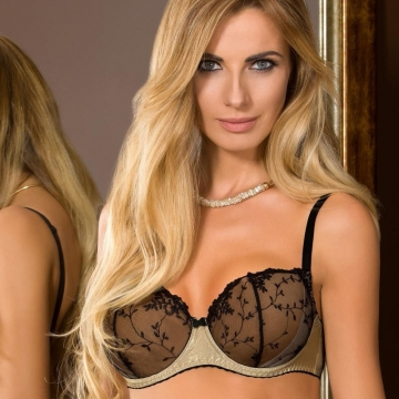 Unlined Bras Goldie - Golden Unlined  Mesh Bra Balconette