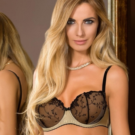 Goldie - Golden Unlined Mesh Bra Balconette