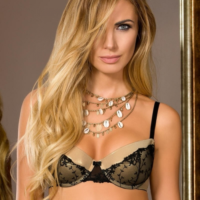 Goldie - Golden Glossy Push up Bra