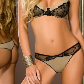 Goldie - Golden Black Mesh Thongs