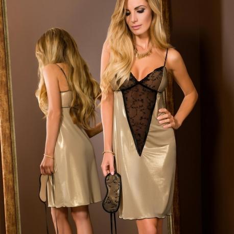 Goldie - Golden V-Shape Peek-a-boo Night Gown