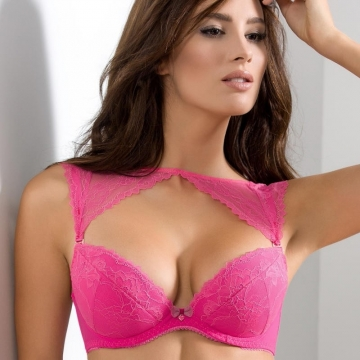 Bras  Litchi - Pink Lace Peek-a-boo Push up Bra