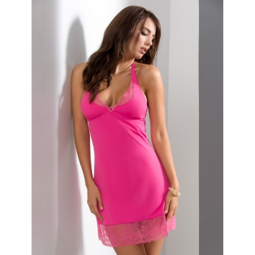 Custom Order Nightwear Litchi - Pink Lace Halter Chemise