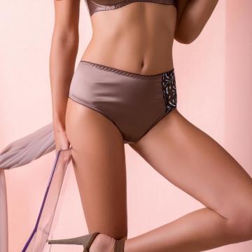 Panties Aurora - Beige Satin Bikini Maxi