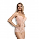 Whisper - Powder Pink Sheer Lace Bodysuit
