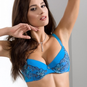 Bras  Acai - Blue Sheer Lace Push up Bra