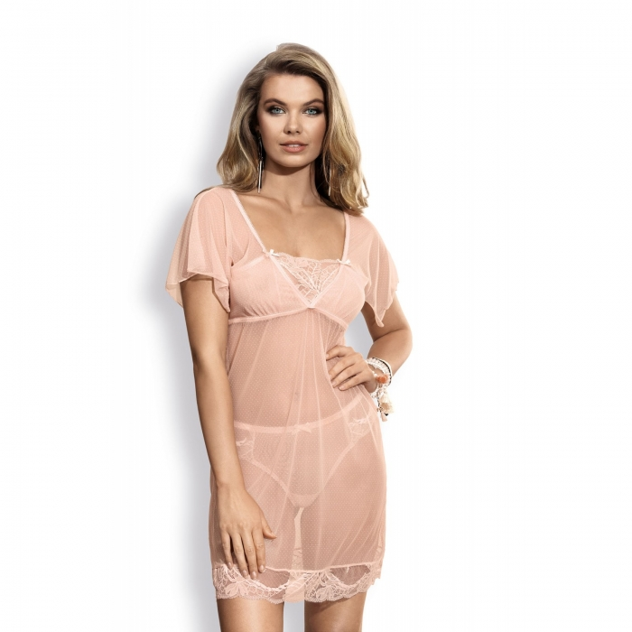 Whisper - Apricot Sheer Lace Chemise
