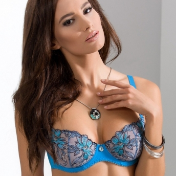 Unlined Bras Acai - Blue Sheer Balconette Bra