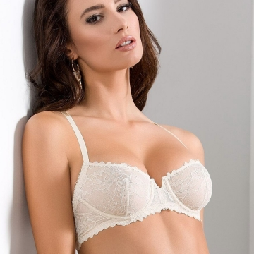 Unlined Bras Quince - Light Cream Lace Balconette Bra