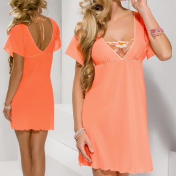 Sexy Lingerie Sweetie - Apricot Short Sleeve Chemise