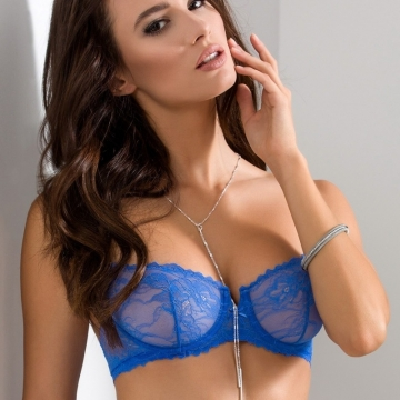 Bras  Blueberry - Blue Lace Balconette Bra