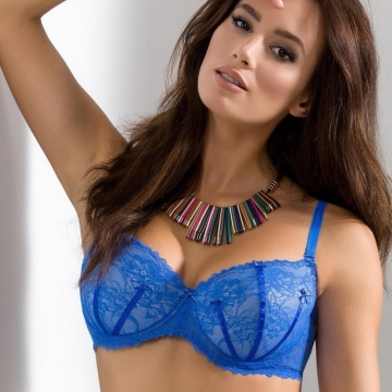 Bras  Blueberry - Blue Lace Demi Padded Bra