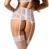 White Lily - White Mesh High Waist Garter Belt