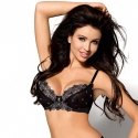 Moon Flower - Silver Black Sheer Bra - Small and Plus Sizes