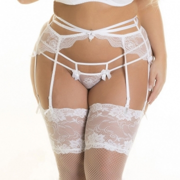 Accessories Full Figure White Lace Strappy Garter Belt
