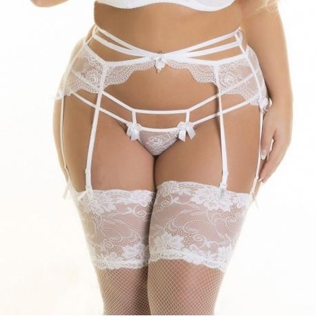 Full Figure White Lace Strappy Garter Belt