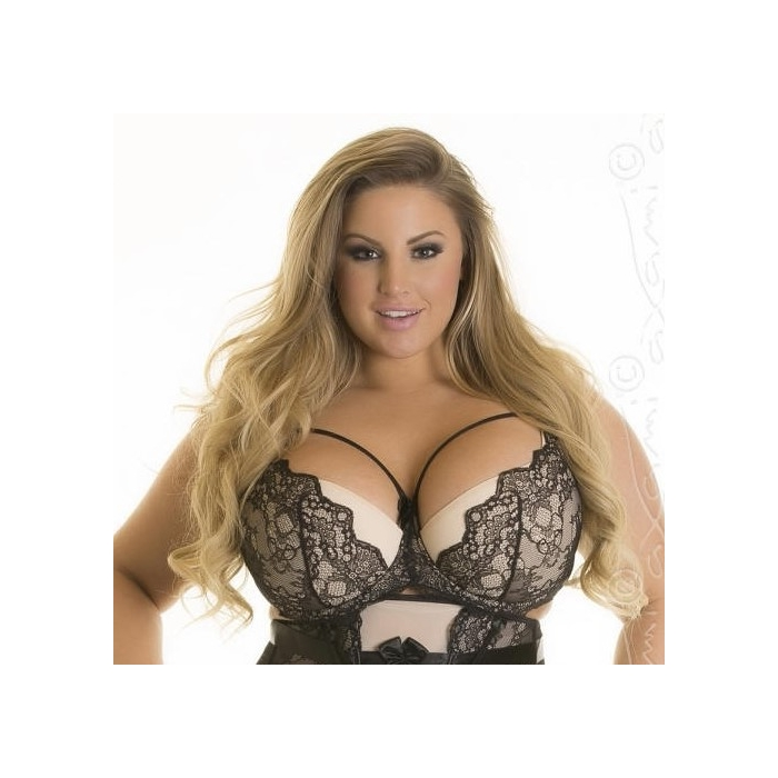 Alize - Plus Size Black and Beige Push up Bra