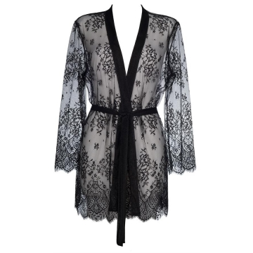 Sexy Lingerie Sky is The Limit - Black Sheer Luxury Robe