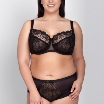 Gardenia - Black Full Coverage Bra Plus Sizes