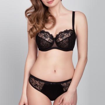 Gardenia - Black Unlined Demi Bra Plus Sizes