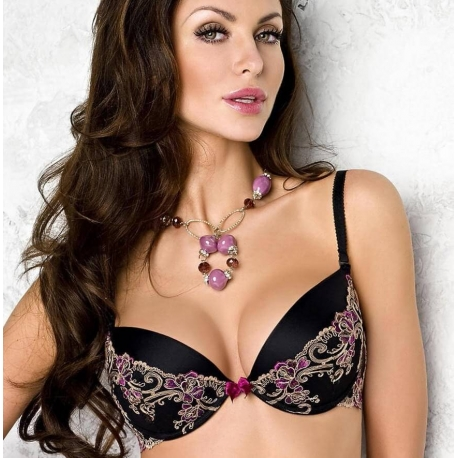 FRIDA Black and Purple Lace Push up Bra