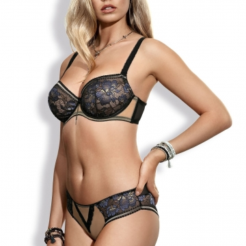 Confetti - Black Blue Lace Balconette Bra