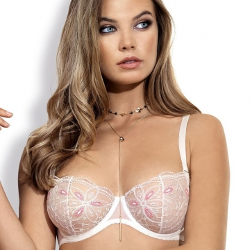 Unlined Bras Candy - White Unlined Balconette Bra